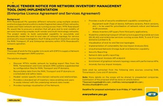 PUBLIC TENDER NOTICE FOR NETWORK INVENTORY MANAGEMENT TOOL (NIM) IMPLEMENTATION